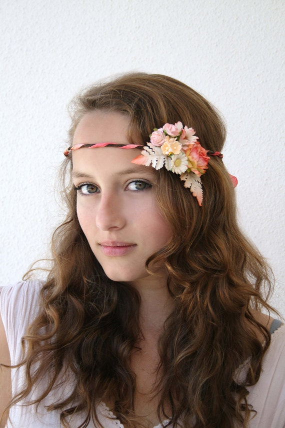 Woodland Vine Crown with Orange, Peach Pink Flowers and Orange Pink Hand Dyed Silk Ribbon, Bridal Crown