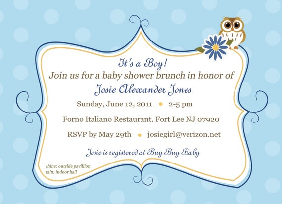 Owl Baby Boy Shower Invite, Diy print invite, Baby Shower Invitation,Baby Blue Invitation,Surprise baby shower invite,baby boy shower invite