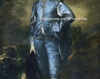 SIAMESE CAT Great Masters Parody Print GAINSBOROUGH Blue Boy Portrait