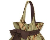 Green shoulder bag messenger tote brown green fabric magnetic Button bow Large Mothers Day