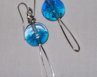 Bright Blue Glass Discs with square silver wire.