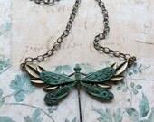 Verdigris Green Dragonfly Necklace Vintage Inspired Pendant