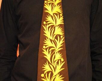 SALE - Vintage Necktie - Dark Brown with Yellow Emroidery