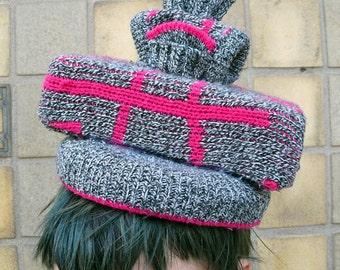 Handmade Delux Knit Pill Box Stack Hat - OOAK - SALE
