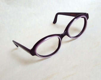 1960s Black & lilac spectacle frames Creme De Cacao / 60s pastel purple oval sunglasses eyeglasses eyewear
