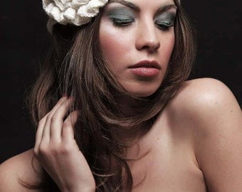 Boho Style Wedding Crochet Winter Flower  Hat , Boho Style Rosette  Hat, Flapper Flower Hat, Fall Accessories  Crochet  Hat.Made to order