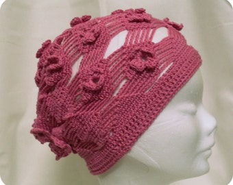 Crochet Flapper Fuchsia Hat  -Crochet Women Cloche Hat- Crochet Flower  Beret