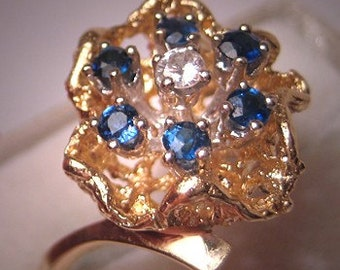 Vintage Sapphire Diamond Ring - Wedding Ring Retro 14K Gold