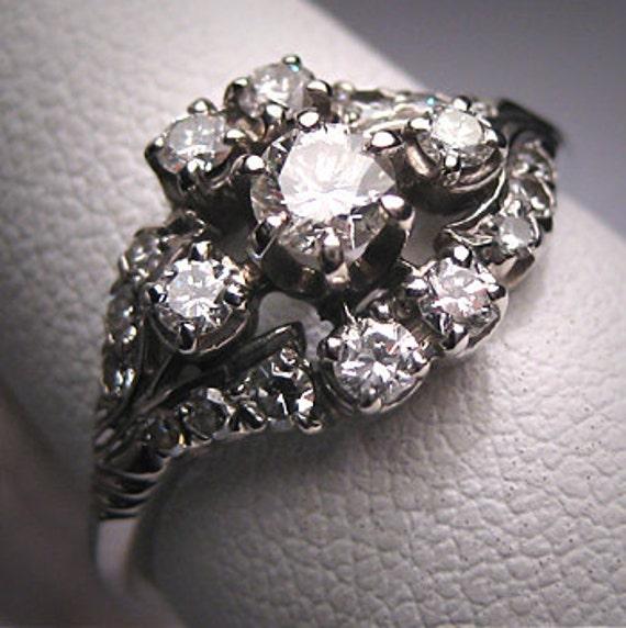 Antique Diamond Wedding Ring Vintage Art Deco 18K Gold