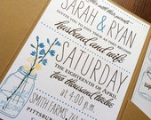 SALE - Wildflower Mason Jar Invite - Self Assembly Available