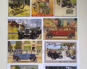 Cars & Motorcycles, Old Bikes, Cars Postcards, Mini Prints - Set of 9