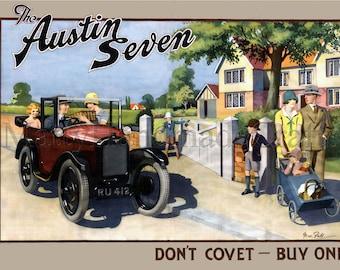 Austin Seven, British Car, 1930s Advertising Print