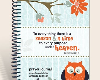 "Personalized Gift / Notebook / Personalized Journal ""Owl on a Limb"" Ecclesiastes 3:1/"