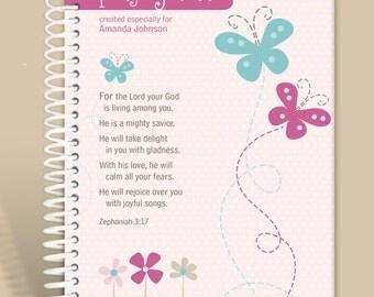 Personalized Journal - Girly Girl - Zephaniah 3:17