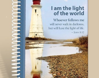 Lighthouse  / Notebook / Prayer Journal Personalized / John 8:12