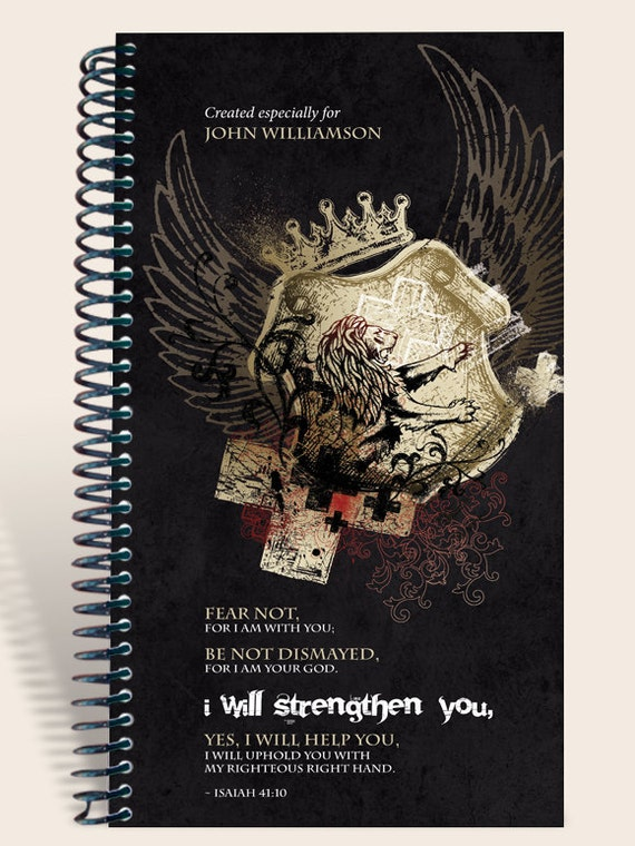 Personalized journal  - Lion Strength Isaiah 41:10
