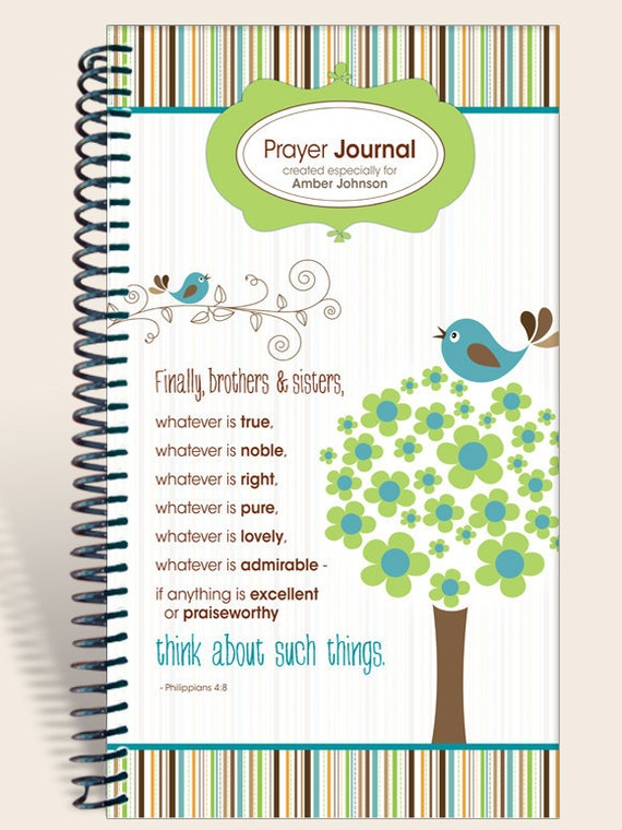 Journal / Notebook / Prayer Journal Personalized - Whimsical Birds - Philippians 4:8/