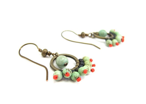 Turquoise Beadwork Artisan Earrings, The Cha Cha, Gypsy, Antique Bronze Brass Finish, Spanish Inspired