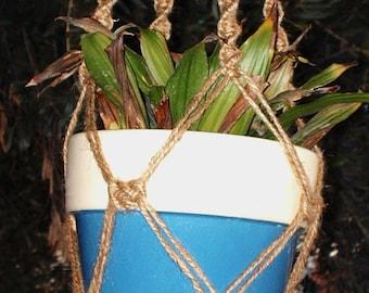 Macrame Plant Hanger 28 in Button Knot - Jute