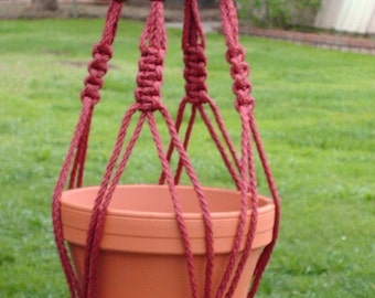 Macrame Plant Hanger 28 in Vintage Beaded strong 6mm Cranberry Cord (Choose Color)