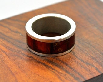 Amber and Sterling Silver band ring, size 8