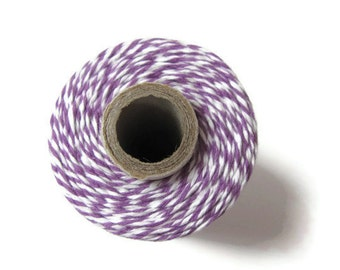 Purple Bakers Twine - Lilac & White Striped Twinery - Invitation Wrapping String - Crafts - Scrapbooking - DIY Supply - 240 Yards Full Spool
