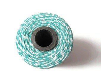 Teal Bakers Twine - Caribbean & White Striped Twinery - Scrapbooking - Invitation Wrapping String - Craft - Packaging - 240 Yards Full Spool