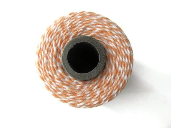 Bakers Twine - Peach & White Striped - Twinery Cantaloupe - Scrapbooking - Crafts - DIY Invitations - String - Wrap - 240 Yard Full Spool