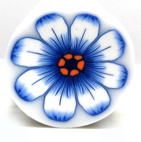 Polymer clay cane Royal blue flower