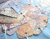 Map gift tags with string and blank backing. Hang tags. Qty 12. Larger quantities available.