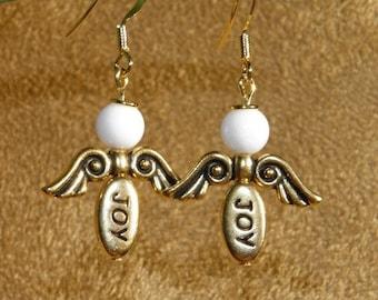 GUARDIAN ANGEL Earrings Gold And Marble Dangle Earrings Custom Made With Your Choice Of Inspirational Word Beads  Love Hope Joy Peace Faith