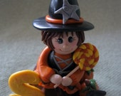 Polymer Clay Halloween Witch Cake Topper