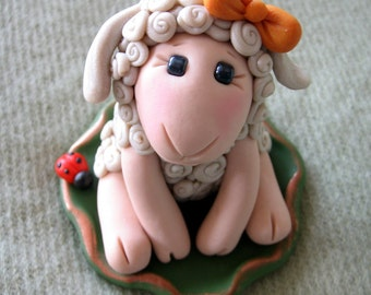 Polymer Clay Sheep, Sheep, Lamb With Ladybug, Cake Topper