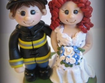 Wedding Cake Topper, Custom Bride and Fireman, Personalized Polymer Clay Firefighter Wedding or Anniversary Keepsake, Red Hair
