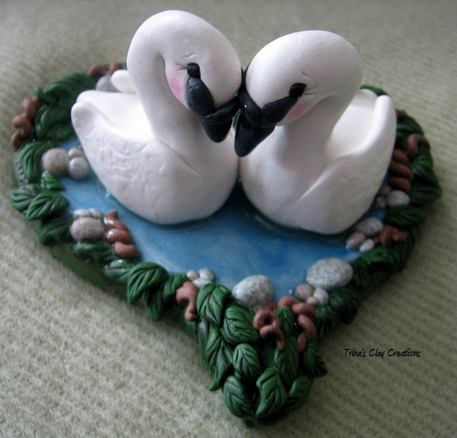 Make Your Own Wedding Topper: Wedding Cake Topper Swans Swan Custom Polymer Clay