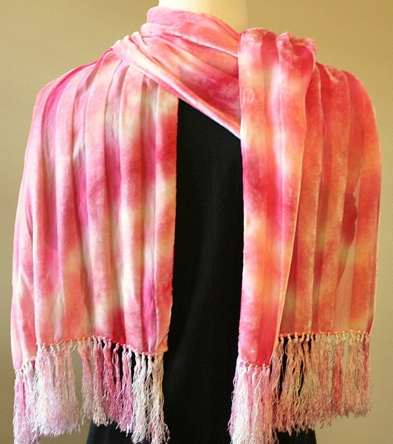 Silk Velvet Striped Scarf in Fruity Cherry and Peach- Gift for Her