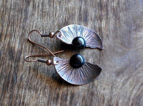 Antique copper and onyx earrings. Handmade.