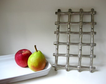 Hollywood Regency Style Silver Bamboo Trivet