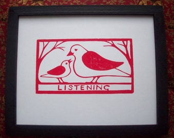 Print--Listening in Brown or Red Ink