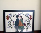vintage framed sampler handcrafted needlepoint kissing couple Christmas Valentine wedding or shower gift