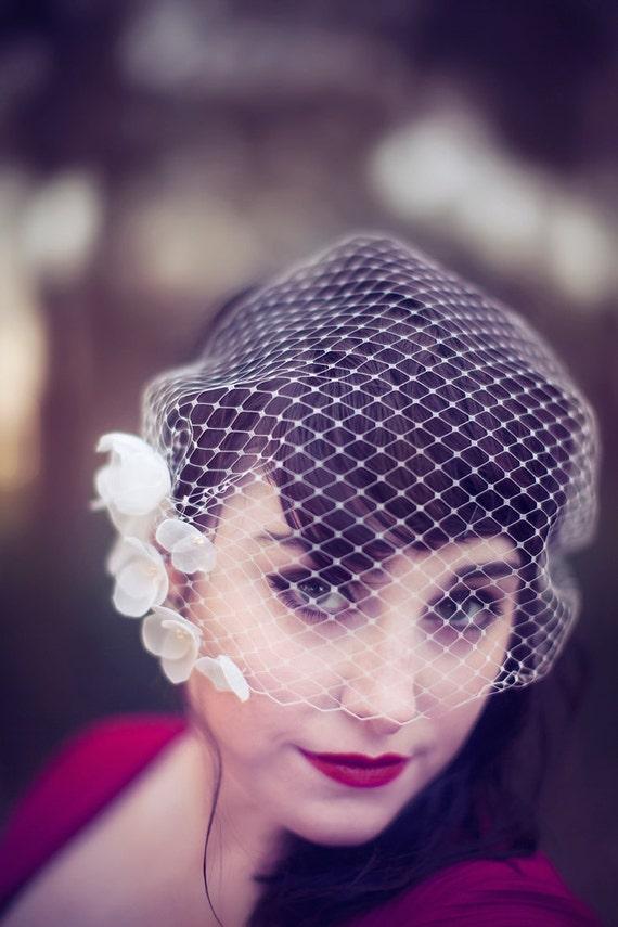 Bridal birdcage veil with flowers - Flower embellished bandeau birdcage veil