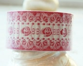 Jumbo Deco adhesive Tape Stickers - Pink Rose White Lace 25METERS DTB72