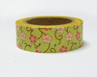 CRAZY SALE Green Sakura Flowers Washi Tape 15mm x 10m WT858