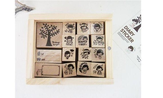 Wood mounted rubber stamps Kit Series (15 pieces with wooden box)