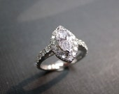 Engagement Ring with Marquise Diamond in 14K White Gold