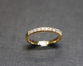 Wedding Diamond Ring in 18K Yellow Gold, Diamond Wedding Band, Diamond Ring, Diamond Engagement Ring, Thin Ring, Wedding Gift, Jewelry Gift