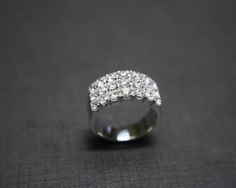 18K White Gold Wedding Anniversary Diamond Band Bridal Ring