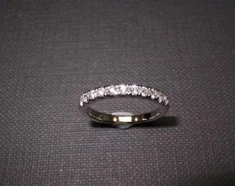 Wedding Diamond Ring in 14K White Gold, Diamond Wedding Band, Diamond Ring, Classic Thin Ring, Thin Wedding Ring, Women Ring, Fine Jewelry