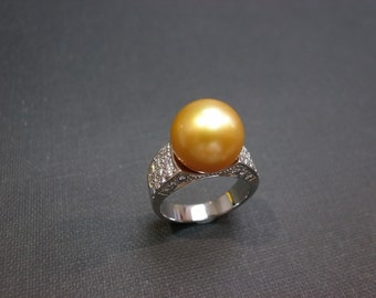 Natural South Sea Pearl Diamond Ring in 18K White Gold