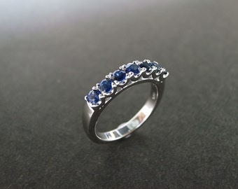 Blue Sapphire Wedding Ring in 14K White Gold